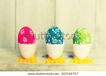 Cute creative photo with easter eggs  - stock photo