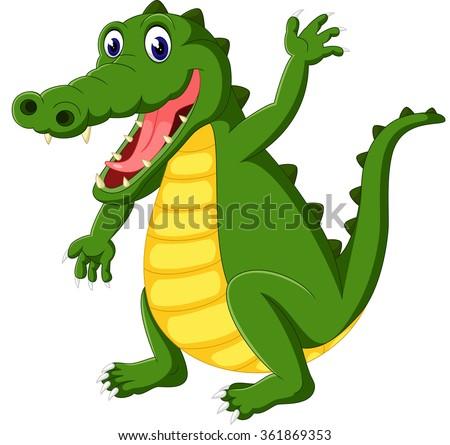 Cute crocodile cartoon - stock photo