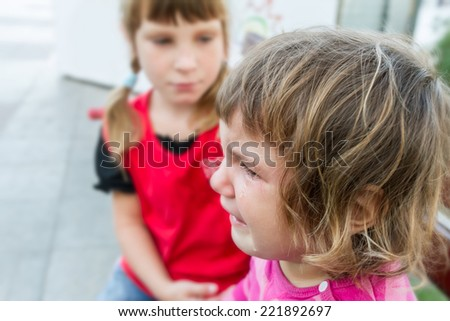 cute crying child girl - stock photo