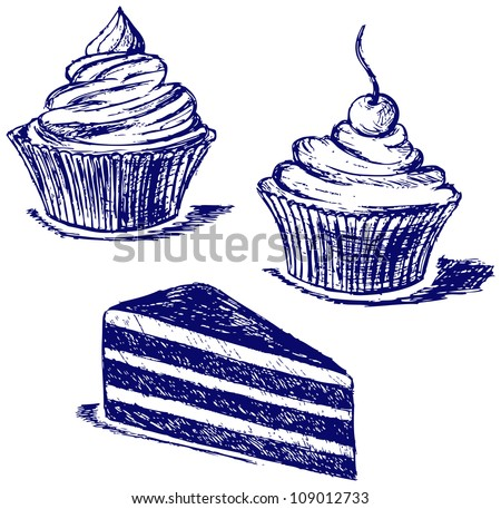 Cute cupcake. Raster - stock photo