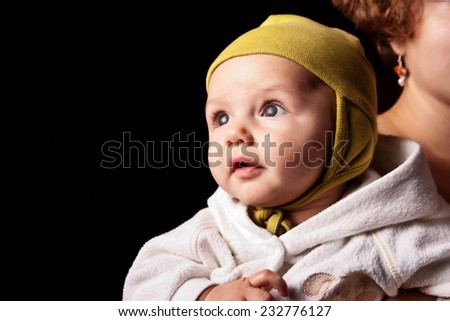 Cute curious  baby - stock photo