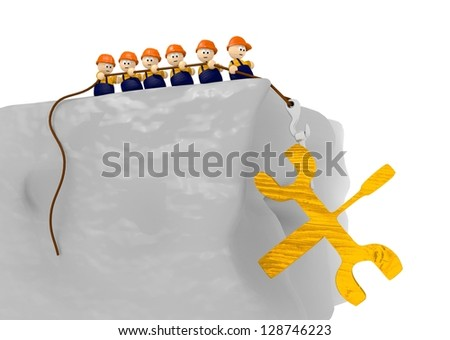 cute 3d character  on construction site comic tools 3d illustration - stock photo