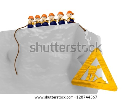cute 3d characters pull together on a building site sign - stock photo