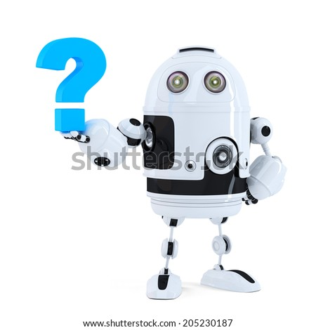 Cute 3D robot with question mark. Isolated on white. Contains clipping path - stock photo
