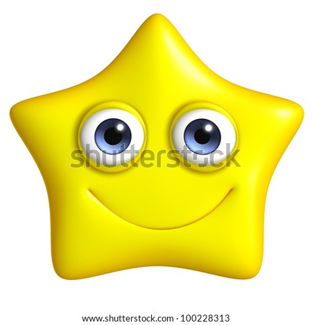 cute 3d star - stock photo