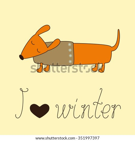 Cute dachshund with closed eyes in beige jersey decorated with snowflakes and calligraphic lettering I love winter with heart isolated on ginger background - stock photo