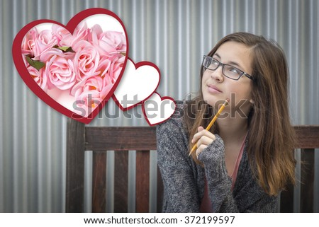 Cute Daydreaming Girl Next To Floating Hearts with Pink Roses. - stock photo