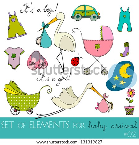 cute design elements for baby arrival card - stock photo