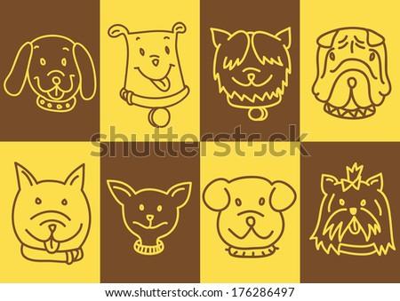 cute dog faces - stock photo
