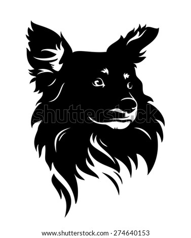 cute dog head - black and white puppy portrait - stock photo