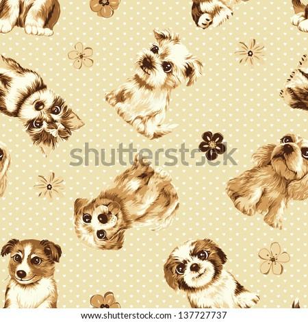 Cute dog seamless texture background Seamless pattern - stock photo