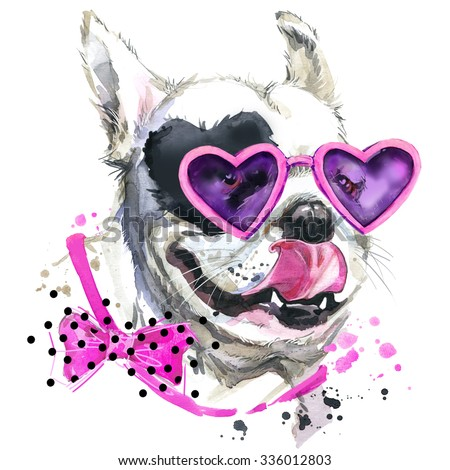 Cute dog T-shirt graphics. Funny French Bulldog  illustration with splash watercolor textured  background. unusual illustration watercolor puppy dog for fashion print, poster, textiles, fashion design - stock photo