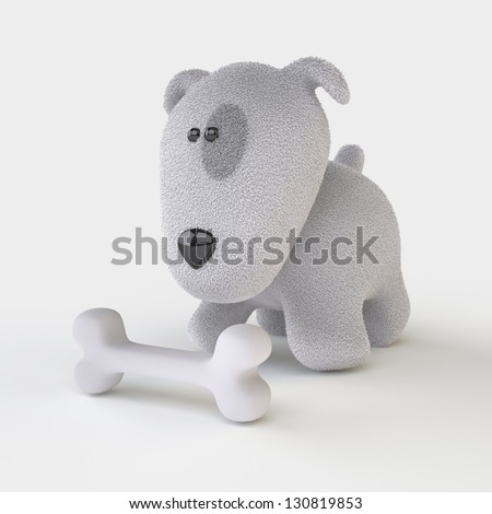 Cute Dog/ The Three-dimensional Dog with a Bone - stock photo