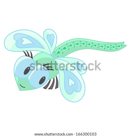 Cute dragonfly cartoon on a white background - stock photo