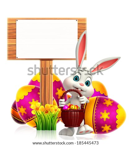 Cute Easter Bunny with wooden arrow  - stock photo