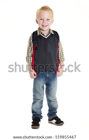 Cute Elementary School Boy Isolated on white background - stock photo