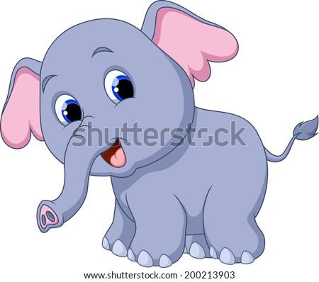 Cute elephant cartoon - stock photo