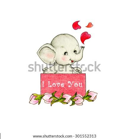Cute elephant in love - stock photo