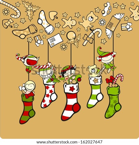 Cute elves with Christmas stockings (raster version) - stock photo