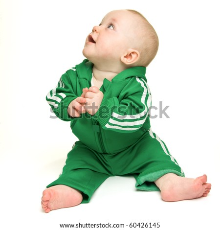 Cute expressive baby boy isolated on white background. - stock photo
