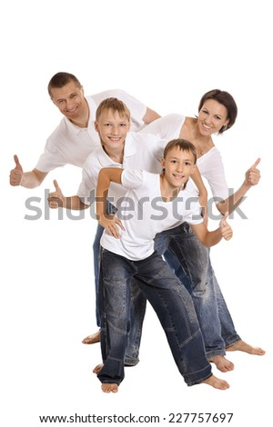 Cute family isolated on a white background - stock photo