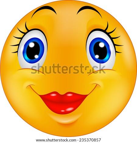 Cute female emoticon smiley - stock photo