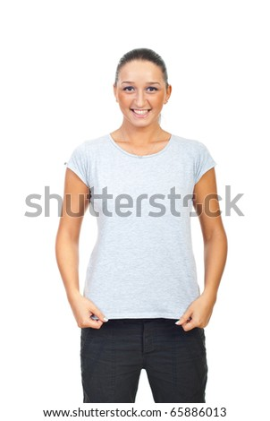 Cute female showing her blank grey cotton t-shirt isolated on white background - stock photo