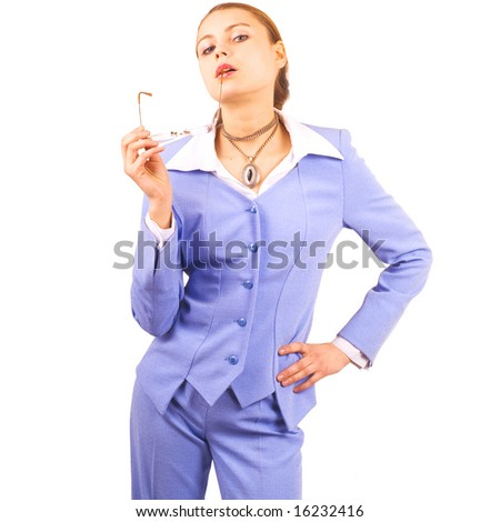 "cute fit woman wearing business suit  -  of ""Business women"" multiple series in studio's portfolio - stock photo"