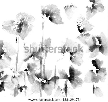 Cute floral background. Watercolor poppies - stock photo