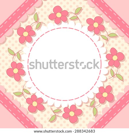 Cute floral photo frame. Baby shower card. Scrapbook page.  - stock photo