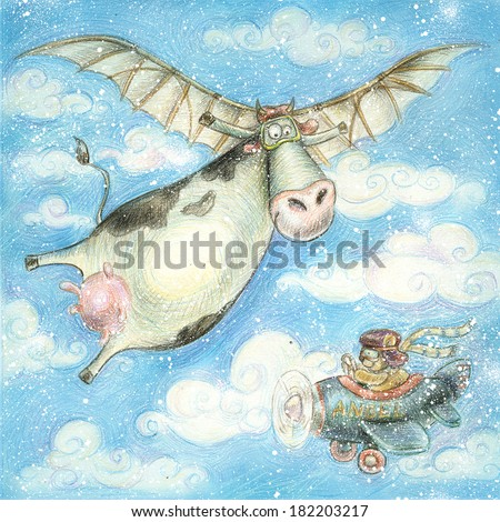 Cute flying cow.Vintage background.Children illustration. Cartoon childish background in vintage colors. Flight high in the sky. Clouds. Fly like a bird. First flight. Drink milk. Fresh milk. Plane. - stock photo