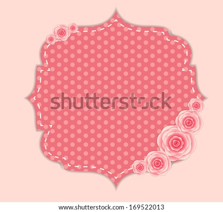 Cute Frame with Rose Flowers - stock photo