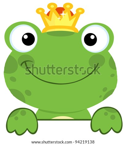 Cute Frog Prince Over A Sign Board - stock photo