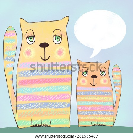 Cute funny cats with speech bubble on blue background. Cartoon illustration of two happy cats, who met on a date, sitting together and communicating, dreaming of something, ate to the full and relax. - stock photo