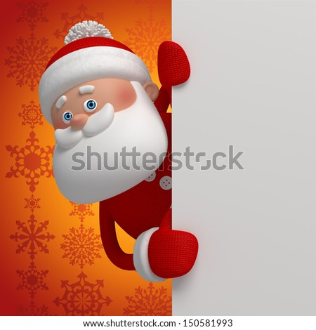 cute funny 3d Santa Claus cartoon appearing from the corner - stock photo