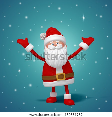 cute funny 3d Santa Claus cartoon standing, hands up - stock photo
