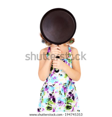 cute funny little girl wearing the curler and with the pan - stock photo