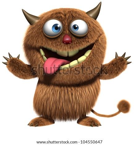 cute furry alien - stock photo