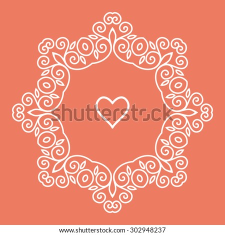 Cute geometric floral frame in mono line style - stock photo