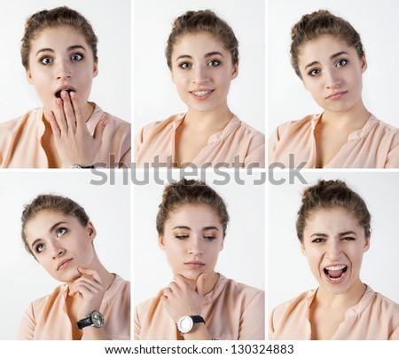 cute girl emotions set - stock photo