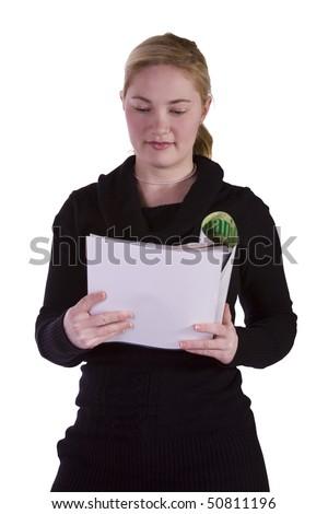 Cute Girl Holding Books and Magazine - Isolated Background - stock photo