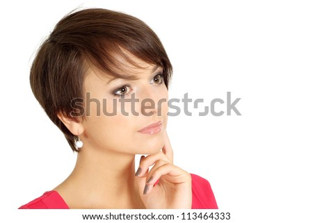 Cute girl in coral dress on a white background - stock photo