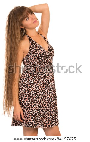 cute girl in dress posing on a white - stock photo