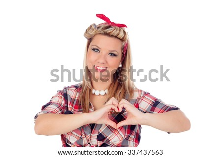 Cute girl in love with pinup style isolated on a white background - stock photo