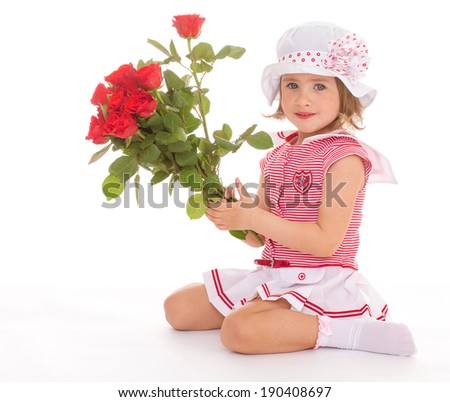 Cute girl in Panama is sitting with a bouquet of roses - stock photo