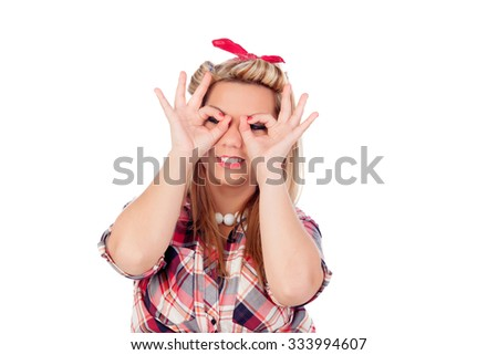 Cute girl in pinup style isolated on a white background - stock photo