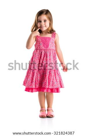 Cute girl in studio - stock photo