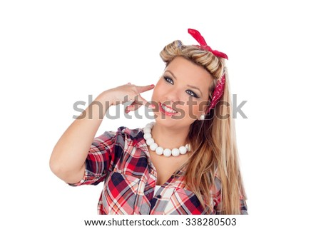 Cute girl motioning to call in pinup style isolated on a white background - stock photo