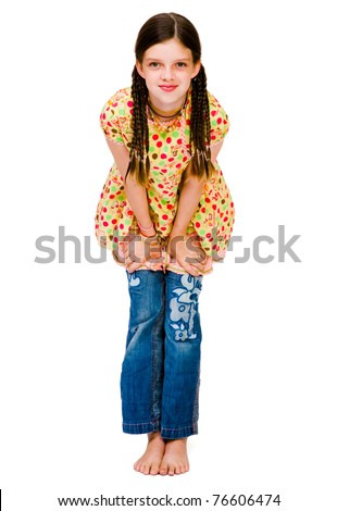 Cute girl posing and smiling isolated over white - stock photo