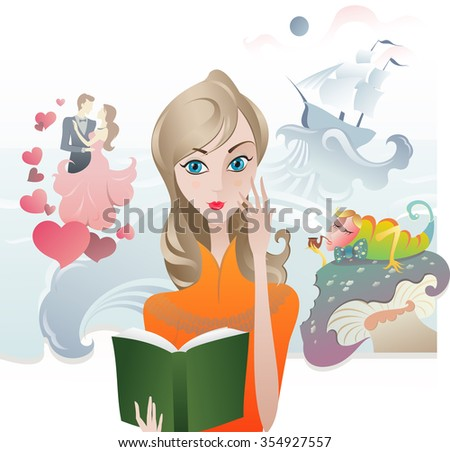 Cute Girl reading a Book. The illustration of the Girl with the Book. Book Cover. Reading Literature - stock photo